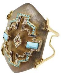 Alexis Bittar Crystal And Turquoise Cuff Bracelet - Metallic