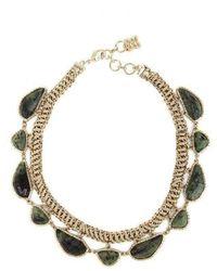 BCBGMAXAZRIA Gold Green Natural Stone Collar Necklace - Metallic