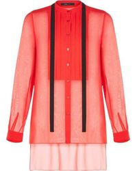 BCBGMAXAZRIA Red Berry Kristian Pleated Button-up Shirt