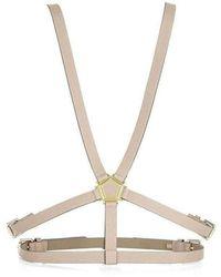 BCBGMAXAZRIA Pentagon Hardware Harness Beige Waist Belt - Natural