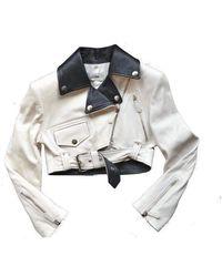 Jean Paul Gaultier Runway Leather Biker Jacket - White