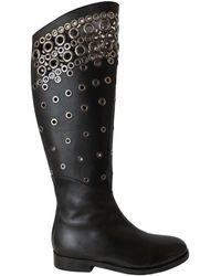 Alaïa Knee High Leather Boots - Black