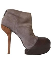 BCBGMAXAZRIA Grey Leather 'diva' Booties - Multicolour