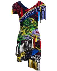 Versace - Mega Mix Print Fringe Mini Dress - Lyst
