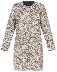 BCBGMAXAZRIA Mickie Ocelot Print Faux-fur Coat Gpq8c750-2q7 - Natural