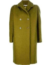 Carven Lime Green Mohair Double Breasted Oversized Pea Coat