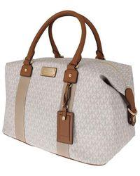 Michael Kors White Brown Travel Weekendbag