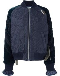 Sacai Calligraphy Embroidered Velvet Sleeve Quilted Bomber Jacket - Blue