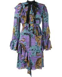 Gucci Bengal Tiger Print Dress - Blue