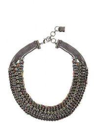 BCBGMAXAZRIA Stone And Thread Collar Necklace - Metallic