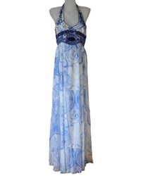 Emilio Pucci - Greek Bleach Lazurite Silk Halter Gown Dress - Lyst