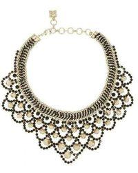 BCBGMAXAZRIA Metal Spike Bib Necklace - Metallic