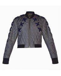 BCBGMAXAZRIA Colin Lace Up Bomber Jacket - Grey