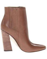 BCBGMAXAZRIA Metild Beige Leather High Heel Bootie - Brown