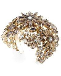 BCBGMAXAZRIA Floral Stone Cuff Bracelet - Metallic