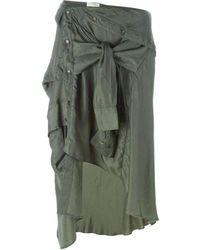 Faith Connexion Shirt Style Asymmetric Skirt - Green