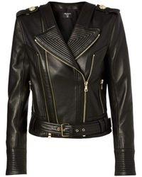 Balmain Black Buckle Belt Leather Jacket