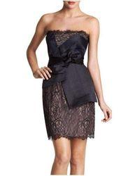 BCBGMAXAZRIA Runway Strapless Lace Bustier Mini Dress - Black