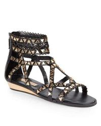 BCBGMAXAZRIA Brianna Gladiator Leather Sandal - Black