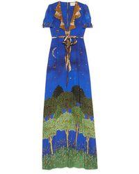 Gucci Blue Night Garden Silk Gown