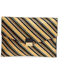 Dries Van Noten Stripe Canvas Large Envelope Clutch - Orange