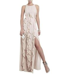 BCBGMAXAZRIA Tess Cascading Ruffle Floor Length Dress - Natural