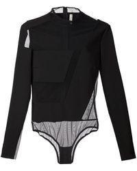 Mugler Black Sheer Panel Bodysuit