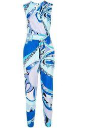 Emilio Pucci Print Cross Front Jumpsuit - Blue