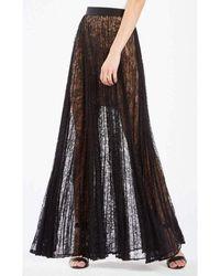BCBGMAXAZRIA Bcbg Maxazria Esten Pleated Lace Maxi Skirt - Black