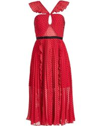 Self-Portrait Plumetis Chiffon Midi Dress - Red