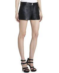BCBGMAXAZRIA Bruna Patch Pocket Leather Shorts - Black