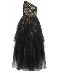 BCBGMAXAZRIA Embroidered One-shoulder Tulle Gown - Black