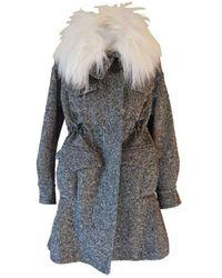 Sacai Luck Black & White Safari Patch Pocket Oversized Wool Coat - Gray