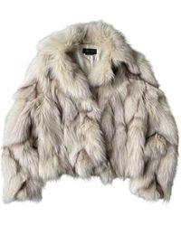 BCBGMAXAZRIA White Fox Coat - Multicolour