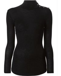 Balmain - Black Wool Turtleneck Gold Buttons Sweater - Lyst