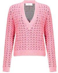 Pringle of Scotland Chunky Pink Angora V Neck Sweater