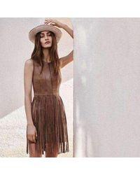 BCBGMAXAZRIA Hamin Fringe Faux Suede Vest Dress - Brown