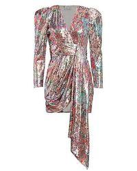 Prabal Gurung Mixed Sequin Wrapped Sash Mini Dress - Multicolour