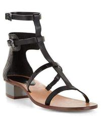 BCBGMAXAZRIA Crocodile Pattern Cross T-strap Sandal - Black