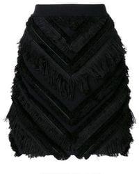 Balmain Black Chevron Fringed Mini Skirt