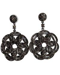 BCBGMAXAZRIA Floral Statement Earrings - Black