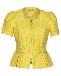 Nina Ricci Yellow Tweet Cropped Blazer Jacket