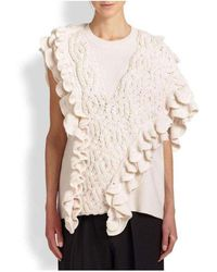 3.1 Phillip Lim Wool Crochet Ruffle Sleeveless Knit Sweater Vest - White