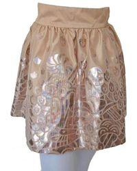 Manish Arora - Silk With Metallic Cutout Details Mini Skirt - Lyst