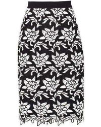 BCBGMAXAZRIA Sascha Floral-hem Pencil Skirt - Black
