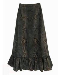Manish Arora Embroidered Maxi Ruffle Hem Skirt - Black
