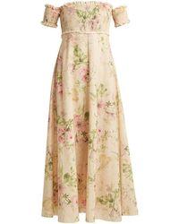 Zimmermann Iris Shirred Linen And Cotton-blend Dress - Natural