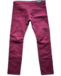 Balmain Burgundy Embroidered Trimming Slim Stretch Jeans - Purple