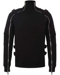 Balmain Black Turtleneck Zip Detailed Sweater
