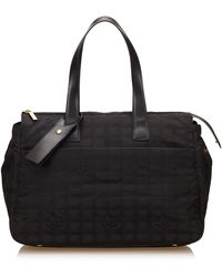 Chanel Black Jacquard Fabric New Travel Line Duffel Bag Italy W/ Name Tag, Dust Bag, Authenticity Card